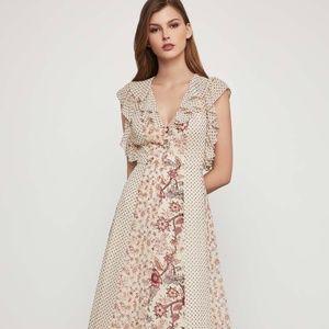 BCBGMaxAzria Colorblocked Floral Midi Dress